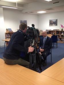 Headteacher Wayne Lloyd is interviewed by BBC Look East